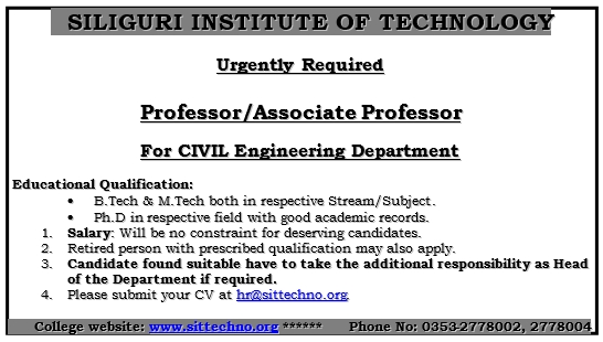 Advertisement published on 13th December 2018 for Civil Engineering Department