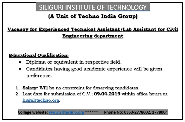 Vacancy for Experienced Technical Assistant/Lab Assistant for Civil Engineering department