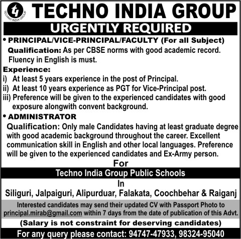 Advertisement published on 9th December 2018 for Techno India Schools